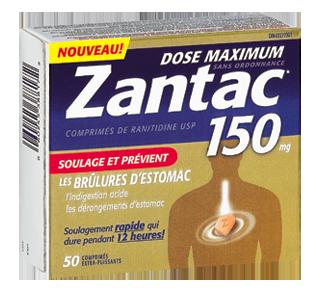 Zantac 150, dose maximale, comprimés sans ordonnance, 50 unités