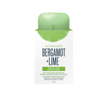 Savon naturel bergamote + lime avec zeste d'orange exfoliant, 142 g