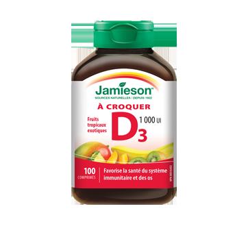 Image du produit Jamieson - Vitamine D3 à croquer 1 000 UI, 100 unités, fruits tropicaux exotiques