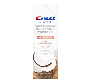 3D White Whitening Therapy Soins Doux odentifrice avec huile de noix de coco, 90 ml, menthe vanille