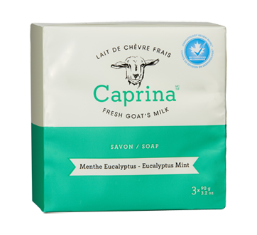 Savon en barre au lait de chèvre frais, 3 x 90 g, menthe eucalyptus