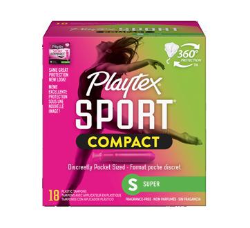 Sport compact tampons pour athlètes, non parfumés, super, 18 unités