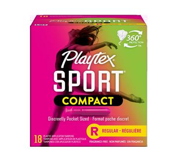 Sport compact tampons pour athlètes, non parfumés, régulière, 19 unités