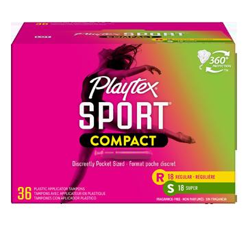 Sport compact tampons pour athlètes, non parfumés, régulière/super, 36 unités