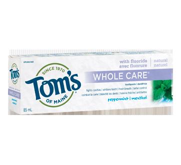 Whole Care dentifrice naturel au fluorure, 85 ml, menthe poivrée