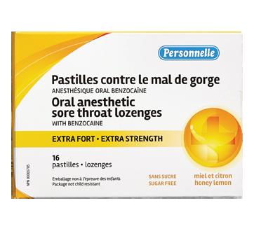Image du produit Personnelle - Pastilles contre le mal de gorge extra fort, 16 unités, miel et citron