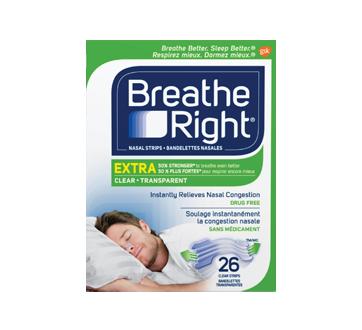 Image 1 du produit Breathe Right - Extra bandelettes nasales, 26 unités, transparent