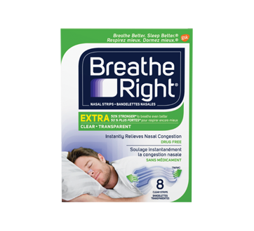 Image 1 du produit Breathe Right - Extra bandelettes nasales, 8 unités, transparent