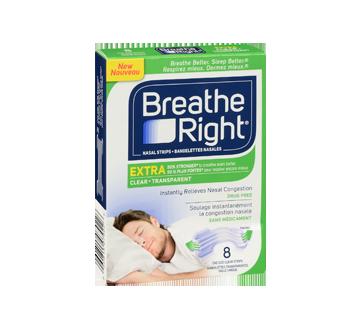 Image 2 du produit Breathe Right - Extra bandelettes nasales, 8 unités, transparent