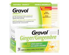 Image du produit Gravol - Capsules en gel liquide, 24 unités, gingembre
