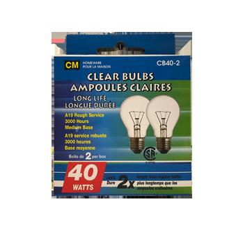 Ampoules claires longue durée 40W, 2 unités