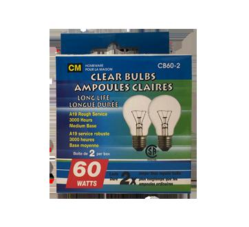 Ampoules claires longue durée 60W, 2 unités
