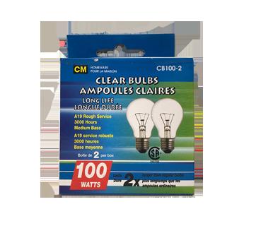 Ampoules claires longue durée 100W, 2 unités