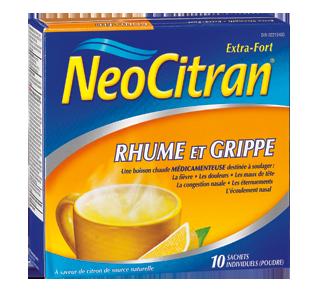 Neocitran extra fort rhume et grippe formule nuit, 10 unités, citron