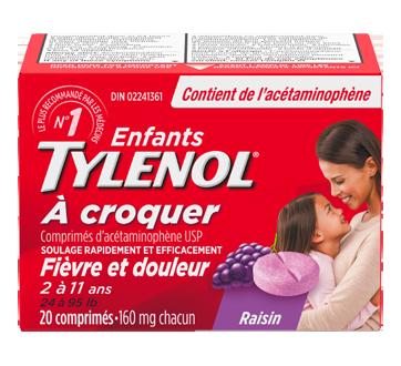 Image du produit Tylenol - Tylenol à croquer pour enfants, 20 unités, raisin