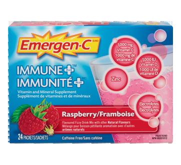 Image du produit Emergen-C - Emergen-C Immunité Plus supplément de vitamines et de minéraux en poudre effervescente, 24 unités, framboise
