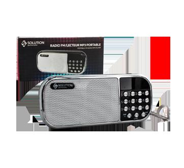 Radio FM/MP3-4/micro SD rechargeable, 1 unité, argent
