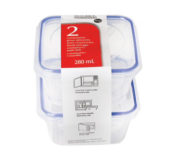 Contenants pour aliments avec couvercles, 280 ml, 2 unités
