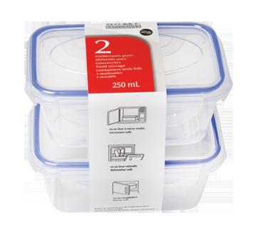 Contenants pour aliments avec couvercles, 250 ml, 2 unités