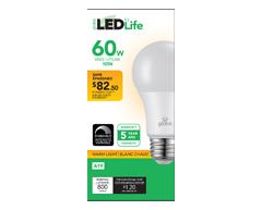Image du produit Globe Electric - Globe ampoule DEL 60W A19, 1 unité, blanc chaud