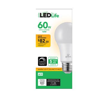 Globe ampoule DEL 60W A19, 1 unité, blanc chaud