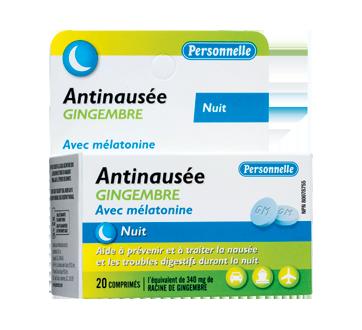 Image du produit Personnelle - Antinausée gingembre avec mélatonine, 20 unités, gingembre