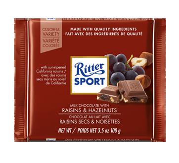 Chocolat au lait avec raisins secs et noisettes, 100 g