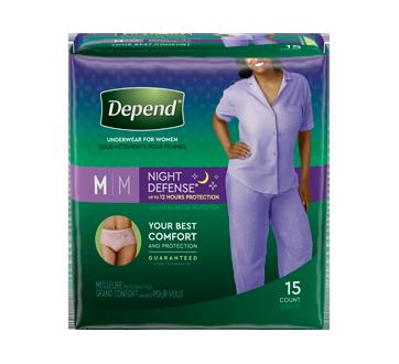 Night Defense sous-vêtement d'incontinence de nuit pour femmes, 15 unités, moyen