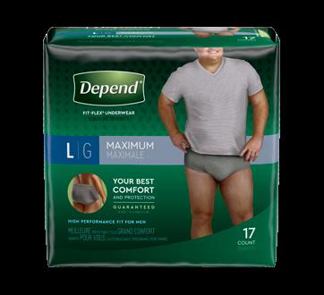 Fit-Flex sous-vêtement d'incontinence pour hommes, 17 unités, grand, gris