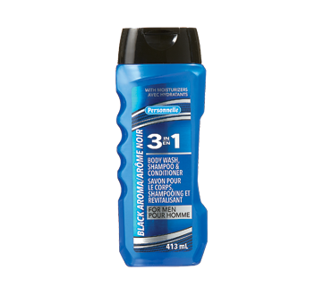 3 en 1 savon pour le corps, shampooing et revitalisant, 413 ml , arôme noir