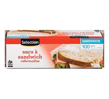 Sacs à sandwich refermables, 100 unités