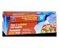 Image du produit PJC - Sacs à collation refermables, paquet de 50
