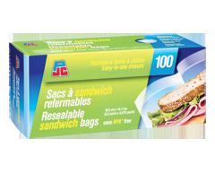 Image du produit PJC - Sacs à sandwich refermables, 100 unités