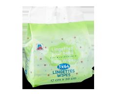 Image du produit PJC - Lingettes pour bébé, 3 x 64 lingettes