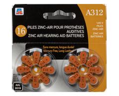 Image du produit PJC - Piles zinc-air pour prothèses auditives, 16 unités, A12