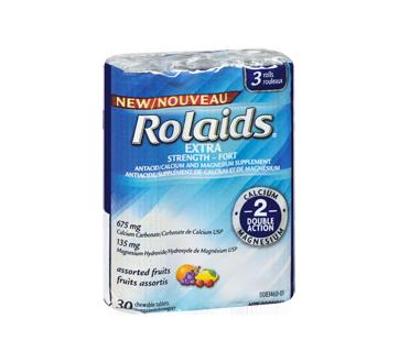 Image 2 du produit Rolaids - Comprimés extra-forts à double action, 3 x 10 unités, fruit