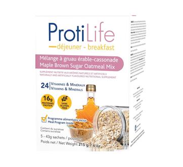 Image 1 du produit ProtiLife - Diète mélange à gruau instantané , 5 x 43 g, érable cassonade