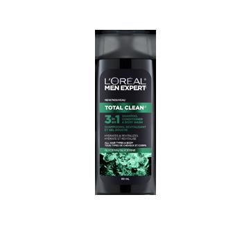 Men Expert Total Clean 3-en-1 shampooing, revitalisant, et gel douche, 89 ml