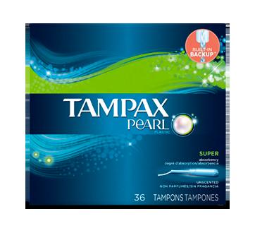 Pearl tampons avec applicateurs en plastique degré d'absorption super non parfumés, 36 unités