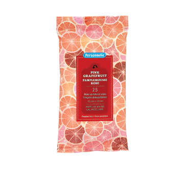 Lingettes démaquillantes, 25 unités , pamplemousse rose