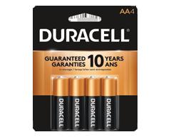 Image du produit Duracell - Piles alcalines AA CopperTop, 4 piles