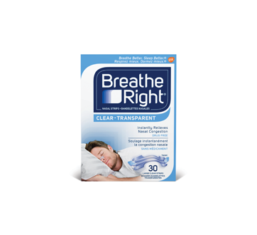Image 1 du produit Breathe Right - Bandelettes nasales, 30 unités, grandes, transparentes