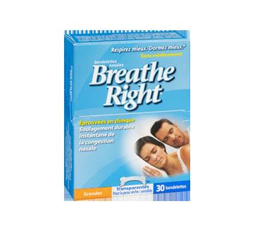Image 2 du produit Breathe Right - Bandelettes nasales, 30 unités, grandes, transparentes