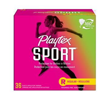 Tampons Playtex Sport en plastique, 36 unités, régulière, non parfumés