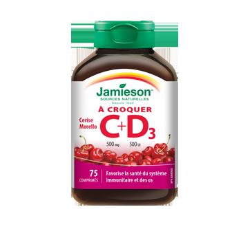 Image 1 du produit Jamieson - Vitamine C 500 mg+ D  500 ui croquable, cerise morello  , 75 unités