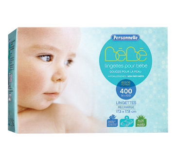Lingettes pour bébé non parfumées, 400 unités