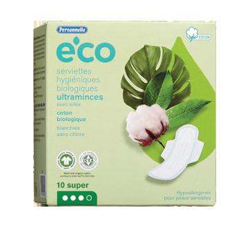 Eco serviettes hygiéniques biologiques ultramince avec ailes, 10 unités, super