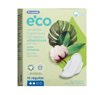 Eco serviettes hygiéniques biologiques ultramince avec ailes, 10 unités, régulier