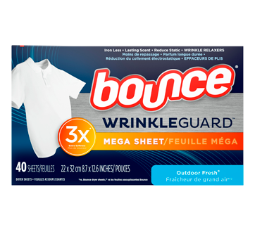 Feuilles assouplissantes WrinkleGuard, 40 unités, fraîcheur de grand air