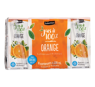 Jus d'orange fait de concentré, 8 X 200 ml